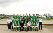 16 September 2010; The Republic of Ireland squad, management and staff. Back row, from left, Ciara O'Brien, Aileen Gilroy, Jessica Gleeson, Zoe Boyd, Jennifer Byrne, Tanya Kennedy, Rianna Jarrett, Megan Campbell, middle row, from left, Claire Scanlan, Coach, Eoin Killackey, Video Analyst, Niamh McLaughlin, Harriett Scott, Siobhan Killeen, Amanda Budden, Grace Moloney, Jill Maloney, Clare Shine, Ciara Grant, Stacie Donnelly, Sharon Boyle, Coach, front row, from left, Emma Hansberry, Denise O'Sullivan, Noel King, Manager, Dora Gorman, Captain, Harry Kenny, Assistant Manager, Kerry Glynn and Rebecca Kearney. Republic of Ireland at the FIFA U-17 Women's World Cup - Squad Photos, Hilton Trinidad, Lady Young Road, Port of Spain, Trinidad, Trinidad & Tobago. Picture credit: Stephen McCarthy / SPORTSFILE
