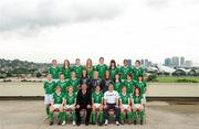 16 September 2010; The Republic of Ireland squad and management. Back row, from left, Ciara O'Brien, Aileen Gilroy, Jessica Gleeson, Zoe Boyd, Jennifer Byrne, Tanya Kennedy, Rianna Jarrett, Megan Campbell, middle row, from left, Niamh McLaughlin, Harriett Scott, Siobhán Killeen, Amanda Budden, Grace Moloney, Jill Maloney, Clare Shine, Ciara Grant, Stacie Donnelly, front row, from left, Emma Hansberry, Denise O'Sullivan, Noel King, Manager, Dora Gorman, Captain, Harry Kenny, Assistant Manager, Kerry Glynn and Rebecca Kearney. Republic of Ireland at the FIFA U-17 Women's World Cup - Squad Photos, Hilton Trinidad, Lady Young Road, Port of Spain, Trinidad, Trinidad & Tobago. Picture credit: Stephen McCarthy / SPORTSFILE