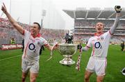 19 September 2010; Cork's Paul Kerrigan, left, and John Hayes, celebrate with the Sam Maguire cup after the game. GAA Football All-Ireland Senior Championship Final, Down v Cork, Croke Park, Dublin. Picture credit: Paul Mohan / SPORTSFILE