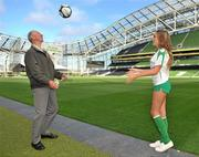 20 September 2010; Former Republic of Ireland manager Jack Charlton with model Nadia Forde at the launch of Airtricity's new 'Biggest Save' campaign which will save homes a phenomenal 20% on their domestic gas rates, Aviva Stadium, Lansdowne Road, Dublin. Picture credit: David Maher / SPORTSFILE