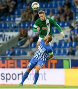28 July 2016; Kevin O'Connor of Cork City in action against Thomas Buffel of KRC Genk during the UEFA Europa League Third Qualifying Round 1st Leg match between KRC Genk and Cork City at the Cristal Arena inGenk, Belgium. Photo by Christian Deutzmann/Sportsfile
