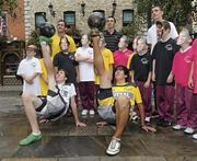 23 September 2010; Irish freestyle soccer players Dan Dennehy, right, and Pet Fleming with pupils, from James Street CBS, and League of Ireland players Mark Rossiter, Bohemians, Shaun Williams, Sporting Fingal, and Cork footballer Ray Carey at the launch of the new sports brand Pele Sports. Pelé Sports launch, Temple Bar, Dublin. Picture credit: Matt Browne / SPORTSFILE