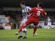 25 September 2010; John Russell, Sligo Rovers, collides with Aiden Collins, Monaghan United. EA Sports Cup Final, Sligo Rovers v Monaghan United, The Showgrounds, Sligo. Picture credit: Barry Cregg / SPORTSFILE