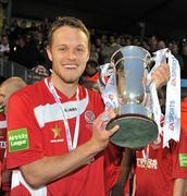 25 September 2010; Matthew Blinkhorn, Sligo Rovers, holds the EA Sports Cup after the presentation. EA Sports Cup Final, Sligo Rovers v Monaghan United, The Showgrounds, Sligo. Picture credit: Barry Cregg / SPORTSFILE