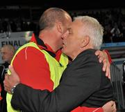25 September 2010; Monaghan United manager Mick Cooke, right, congratulates Sligo Rovers manager Paul Cook after the final whistle. EA Sports Cup Final, Sligo Rovers v Monaghan United, The Showgrounds, Sligo. Picture credit: Barry Cregg / SPORTSFILE
