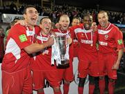 25 September 2010; Sligo Rovers players, from left to right, Gavin Peers, Gary McCabe, Richie Ryan, Joseph Ndo and Jim Lauchlan celebrate with the EA Sports Cup after the match. EA Sports Cup Final, Sligo Rovers v Monaghan United, The Showgrounds, Sligo. Picture credit: Barry Cregg / SPORTSFILE