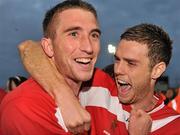 25 September 2010; Sligo Rovers' Iarflaith Davoran, left, and team-mate Conor O'Grady celebrate after the match. EA Sports Cup Final, Sligo Rovers v Monaghan United, The Showgrounds, Sligo. Picture credit: Barry Cregg / SPORTSFILE