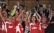25 September 2010; Sligo Rovers captain Conor O'Grady lifts the EA Sports Cup alongside his team-mates. EA Sports Cup Final, Sligo Rovers v Monaghan United, The Showgrounds, Sligo. Picture credit: Barry Cregg / SPORTSFILE