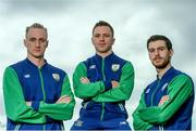 22 July 2016; Team Ireland's Swim team-mates from left, Shane Ryan, Oliver Dingley and Nicholas Quinn during the Swim Ireland Olympics Media Day at St Catherine's Community Centre in Marrowbone Lane, Dublin. Photo by Sam Barnes/Sportsfile