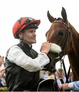 29 July 2016; Pat Smullen with Lost In Silence in the winner's enclosure after the Guinness 17:59 European Breeders Fund Median Auction Maiden at the Galway Races in Ballybrit, Co Galway. Photo by Cody Glenn/Sportsfile