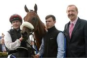29 July 2016; Jockey Pat Smullen and trainer Dermot Weld with Lost In Silence in the winner's enclosure after the Guinness 17:59 European Breeders Fund Median Auction Maiden at the Galway Races in Ballybrit, Co Galway. Photo by Cody Glenn/Sportsfile