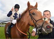 29 July 2016; Leigh Roche celebrates after winning the Guinness Handicap on Golden Spear at the Galway Races in Ballybrit, Co Galway. Photo by Cody Glenn/Sportsfile