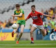 30 July 2016; Enda McCormick of Donegal in action against Aidan Browne of Cork during the Electric Ireland GAA Football All-Ireland Minor Championship Quarter-Final match between Donegal and Cork at Croke Park in Dublin. Photo by Oliver McVeigh/Sportsfile