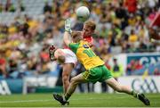 30 July 2016; Mark Buckley of Cork in action against Nathan Boyle of Donegal during the Electric Ireland GAA Football All-Ireland Minor Championship Quarter-Final match between Donegal and Cork at Croke Park in Dublin. Photo by Oliver McVeigh/Sportsfile