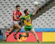 30 July 2016; Niall O'Donnell of Donegal in action against Nathan Walsh of Cork during the Electric Ireland GAA Football All-Ireland Minor Championship Quarter-Final match between Donegal and Cork at Croke Park in Dublin. Photo by Oliver McVeigh/Sportsfile