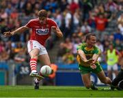 30 July 2016; Ian Maguire of Cork has his shot on goal blocked by Neil McGee of Donegal during the GAA Football All-Ireland Senior Championship Round 4B match between Donegal and Cork at Croke Park in Dublin. Photo by Ray McManus/Sportsfile