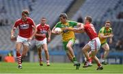 30 July 2016; Christy Toye of Donegal in action against Michael Hurley, right, and Ian Maguire of Cork during the GAA Football All-Ireland Senior Championship Round 4B match between Donegal and Cork at Croke Park in Dublin. Photo by Ray McManus/Sportsfile