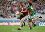 30 July 2016; John Heslin of Westmeath in action against Kevin McLoughlin of Mayo during the GAA Football All-Ireland Senior Championship Round 4B match between Westmeath and Mayo at Croke Park in Dublin. Photo by Oliver McVeigh/Sportsfile