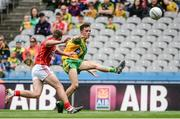 30 July 2016; Eoghan McGettigan of Donegal in action against Alan McCarthy of Cork during the Electric Ireland GAA Football All-Ireland Minor Championship Quarter-Final match between Donegal and Cork at Croke Park in Dublin. Photo by Oliver McVeigh/Sportsfile