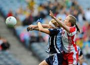 26 September 2010; Gemma Fay, Dublin, in action against Cathy Donnelly, Tyrone. TG4 All-Ireland Senior Ladies Football Championship Final, Dublin v Tyrone, Croke Park, Dublin. Picture credit: Dáire Brennan / SPORTSFILE