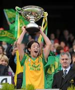 26 September 2010; Donegal captain Aoife McDonnell lifts the cup after the game. TG4 All-Ireland Intermediate Ladies Football Championship Final, Donegal v Waterford, Croke Park, Dublin. Picture credit: Brendan Moran / SPORTSFILE