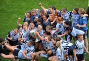 26 September 2010; The Dublin team celebrate with the Brendan Martin Cup after the game. TG4 All-Ireland Senior Ladies Football Championship Final, Dublin v Tyrone, Croke Park, Dublin. Picture credit: Brendan Moran / SPORTSFILE