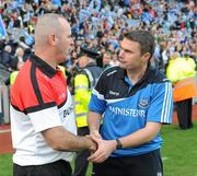26 September 2010; Dublin manager Gerry McGill shakes hands with Tyrone manager Colm Donnelly after the game. TG4 All-Ireland Senior Ladies Football Championship Final, Dublin v Tyrone, Croke Park, Dublin. Picture credit: Dáire Brennan / SPORTSFILE