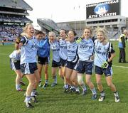 26 September 2010; Dublin players celebrate on the pitch after the game. TG4 All-Ireland Senior Ladies Football Championship Final, Dublin v Tyrone, Croke Park, Dublin. Picture credit: Dáire Brennan / SPORTSFILE