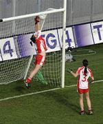 26 September 2010; Tyrone goalkeeper Shannon Lynch saves a goalbound shot from Elaine Kelly, Dublin. TG4 All-Ireland Senior Ladies Football Championship Final, Dublin v Tyrone, Croke Park, Dublin. Picture credit: Brendan Moran / SPORTSFILE
