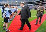 26 September 2010; An Taoiseach Brian Cowen, TD, meets Dublin captain Denise Masterson before the game. TG4 All-Ireland Senior Ladies Football Championship Final, Dublin v Tyrone, Croke Park, Dublin. Picture credit: Brendan Moran / SPORTSFILE