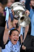 26 September 2010; The Dublin captain Denise Masterson lifts the Brendan Martin Cup. TG4 All-Ireland Senior Ladies Football Championship Final, Dublin v Tyrone, Croke Park, Dublin. Picture credit: Ray McManus / SPORTSFILE