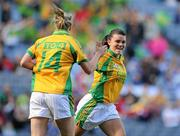 26 September 2010; Niamh Hegarty, right, Donegal, congratulates team-mate Yvonne McMonagle on scoring their side's first goal. TG4 All-Ireland Intermediate Ladies Football Championship Final, Donegal v Waterford, Croke Park, Dublin. Picture credit: Brendan Moran / SPORTSFILE