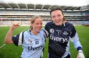 26 September 2010; Mary Nevin and goalkeeper Cliodhna O'Connor celebrate victory for Dublin. TG4 All-Ireland Senior Ladies Football Championship Final, Dublin v Tyrone, Croke Park, Dublin. Picture credit: Ray McManus / SPORTSFILE
