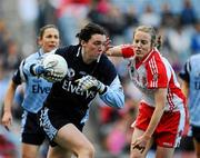 26 September 2010; Cl'odhna O'Connor, Dublin, in action against Cathy Donnelly, Tyrone. TG4 All-Ireland Senior Ladies Football Championship Final, Dublin v Tyrone, Croke Park, Dublin. Picture credit: Dáire Brennan / SPORTSFILE