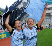 26 September 2010; Dublin players Amy McGuinness, right, and Louise Kidd celebrate after the game. TG4 All-Ireland Senior Ladies Football Championship Final, Dublin v Tyrone, Croke Park, Dublin. Picture credit: Dáire Brennan / SPORTSFILE
