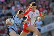 26 September 2010; Sinead Ahern, Dublin, in action against Maura Kelly, Tyrone. TG4 All-Ireland Senior Ladies Football Championship Final, Dublin v Tyrone, Croke Park, Dublin. Picture credit: Ray McManus / SPORTSFILE