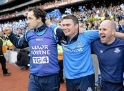 26 September 2010; Dublin manager Gerry McGill, centre, celebrates with trainer Martin Kennedy, left, and selector Tommy Brown, after the game. TG4 All-Ireland Senior Ladies Football Championship Final, Dublin v Tyrone, Croke Park, Dublin. Picture credit: Dáire Brennan / SPORTSFILE