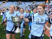26 September 2010; Maria Kavanagh, left, and Karen Kennedy, Dublin, carry the Brendan Martin Cup around the pitch during the 'lap of honour'. TG4 All-Ireland Senior Ladies Football Championship Final, Dublin v Tyrone, Croke Park, Dublin. Picture credit: Dáire Brennan / SPORTSFILE