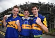 31 July 2016; Tipperary supporters, left to right, Patrick O'Brien, from Nenagh, Co Tipperary, Darren McGrath, from Nenagh, Co Tipperary, and Eoin Maher, from Kildangan, Co Tipperary, ahead of the GAA Football All-Ireland Senior Championship Quarter-Final match between Galway and Tipperary at Croke Park in Dublin. Photo by Daire Brennan/Sportsfile