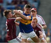 31 July 2016; Michael Quinlivan of Tipperary in action against Eoghan Kerin, 2, Declan Kyne and goalkeeper Bernard Power of Galway during the GAA Football All-Ireland Senior Championship Quarter-Final match between Galway and Tipperary at Croke Park in Dublin. Photo by Ray McManus/Sportsfile