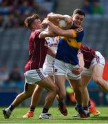31 July 2016; Michael Quinlivan of Tipperary in action against Eoghan Kerin, left, Declan Kyne and goalkeeper Bernard Power of Galway during the GAA Football All-Ireland Senior Championship Quarter-Final match between Galway and Tipperary at Croke Park in Dublin. Photo by Ray McManus/Sportsfile