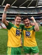 30 July 2016; Mark Curran and Seaghan Ferry of Donegal celebrate after the the Electric Ireland GAA Football All-Ireland Minor Championship Quarter-Final match between Donegal and Cork at Croke Park in Dublin. Photo by Oliver McVeigh/Sportsfile