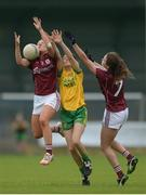 1 August 2016; Megan Glynn, left and Megan Heneghan, right of Galway in action against Theresa McCafferty of Donegal during the TG4 Ladies Football All-Ireland Senior Championship Qualifiers match between Galway and Donegal at Glennon Brothers Pearse Park in Longford. Photo by Eóin Noonan/Sportsfile