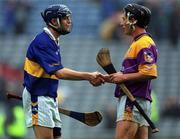 18 August 2001; Paul Kelly, Tipperary, shakes hands with Rory McCarthy, Wexford, after Tipperary's win over Wexford. Tipperary v Wexford, All-Ireland Hurling Championship Semi-Final Replay, Croke Park, Dublin. Picture credit; Ray McManus / SPORTSFILE