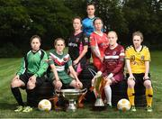 02 August 2016; Players left to right, Rachel Doyle, Peamount United, Evelyn Daly, Cork City Women's FC, Kylie Murphy, Wexford Youths Women's FC, Aine O'Gorman, UCD Waves FC, Pearl Slattery, Shelbourne Ladies FC, Meabh De Burca, Galway WFC and Aislinn Carroll, Kilkenny United WFC in attendance during the launch of the Continental Tyres Women's National League at FAI HQ in Abbotstown, Dublin. The 2016 season will kick off this Saturday, August 6th and will run until December 2016. Follow all the action at @FAI_WNL or #WNL. Photo by David Maher/Sportsfile