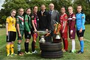 02 August 2016; John Morgan, Sales manager, Continental Tyres with Fran Gavin, Director of the National League, with players left to right, Aislinn Carroll, Kilkenny United WFC, Evelyn Daly, Cork City Women's FC, Rachel Doyle, Peamount United, Kylie Murphy, Wexford Youths Women's FC, Pearl Slattery, Shelbourne Ladies FC, Meabh De Burca, Galway WFC and Aine O'Gorman, UCD Waves FC, in attendance during the launch of the Continental Tyres Women's National League at FAI HQ in Abbotstown, Dublin. The 2016 season will kick off this Saturday, August 6th and will run until December 2016. Follow all the action at @FAI_WNL or #WNL. Photo by David Maher/Sportsfile