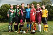02 August 2016; Players left to right, Evelyn Daly, Cork City Women's FC, Rachel Doyle, Peamount United, Kylie Murphy, Wexford Youths Women's FC, Aine O'Gorman, UCD Waves FC, Pearl Slattery, Shelbourne Ladies FC, Meabh De Burca, Galway WFC and Aislinn Carroll, Kilkenny United WFC in attendance during the launch of the Continental Tyres Women's National League at FAI HQ in Abbotstown, Dublin. The 2016 season will kick off this Saturday, August 6th and will run until December 2016. Follow all the action at @FAI_WNL or #WNL. Photo by David Maher/Sportsfile