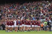 31 July 2016; The Galway team stand together for the national anthem the GAA Football All-Ireland Senior Championship Quarter-Final match between Galway and Tipperary at Croke Park in Dublin. Photo by Ray McManus/Sportsfile