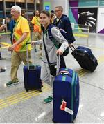 2 August 2016; Team Ireland boxer Katie Taylor arrives at Rio de Janeiro International Airport ahead of the start of the 2016 Rio Olympic Games in Rio de Janeiro, Brazil. Photo by Stephen McCarthy/Sportsfile