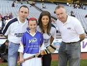 27 September 2010; Emma Mone, Armagh, with Tipperary hurler Eoin Kelly, Wexford camogie player Mags D'Arcy, and Declan Moran, Director of Marketing and Business Development Vhi. Vhi GAA Cúl Day Out 2010, Croke Park, Dublin. Picture credit: Oliver McVeigh / SPORTSFILE